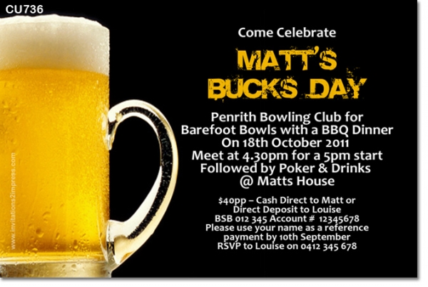 CU736 - Mens Beer Bucks Birthday Invitation