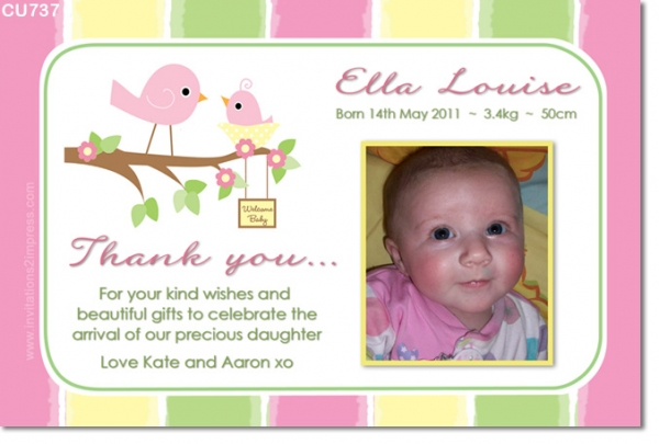 Cu737 little bird baby girl photo announcement girls birthday cu737 little bird baby girl photo announcement filmwisefo