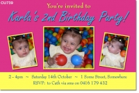 CU739 - Girls Colourful Birthday Invitation