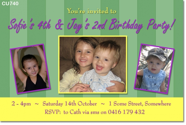 CU740 - Twin or Joint Birthday Invitation
