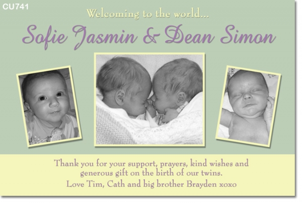 CU741 - Twin or Joint Baby announcement photo card