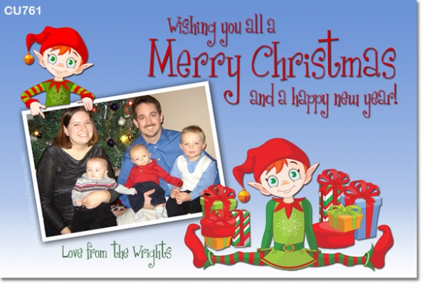 CU761 - Christmas Card with Elves
