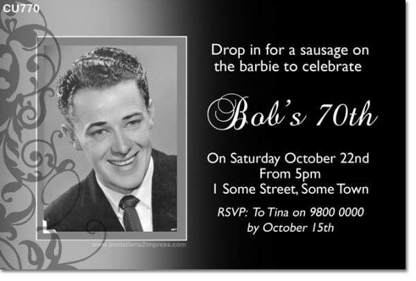 CU770 - Black and White Mens Invitation with Photo