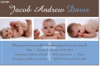 CU781 - Christening Photo Invitation blue and brown