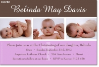 CU782 - Girls Christening Photo Invitation pink and brown