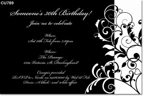 Cu789 black and white birthday invitation ladies birthday cu789 black and white birthday invitation filmwisefo