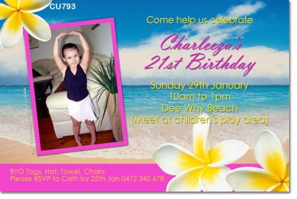 Cu793 girls beach party invitation girls themed birthday cu793 girls beach party invitation stopboris Image collections