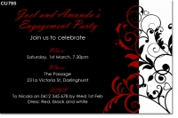 CU795 - Red, Black and White Engagement Invitation