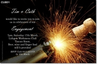CU801 - Adult Birthday Invitation - Champagne Fireworks