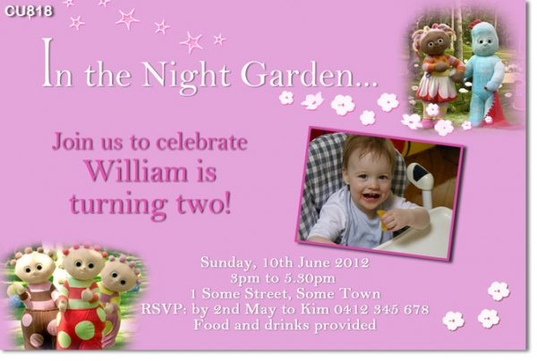CU818 In The Night Garden Girls Birthday Invitation Girls – In the Night Garden Birthday Invitations