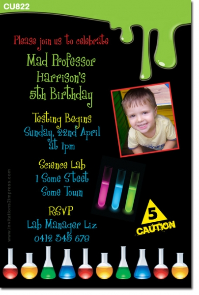 CU822 - Kids Science Themed Birthday Invitation