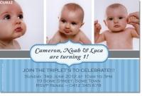 CU832 - Triplet Birthday Invitation