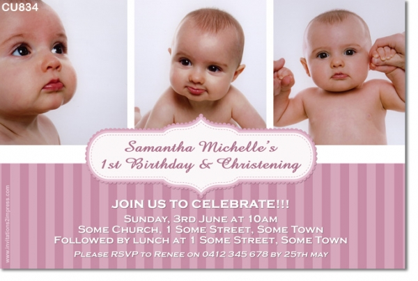 cu834 girls birthday and christening invitation twins joint