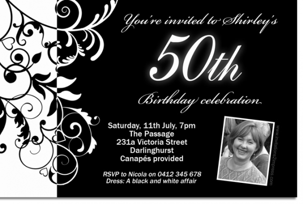 cu838 black and white birthday invitation with photo ladies