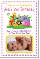 CU841 - Girls Jungle Animal Birthday Invitation