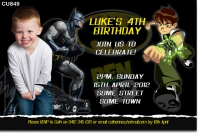 Cu849 Batman And Ben 10 Birthday Invitation Boys Themed Birthday