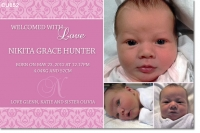 CU852 - Girls Baby Announcement Photo Card