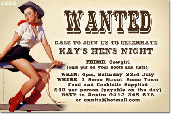CU858 - Cowgirl Themed Hens Night Invitation