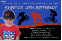 CU859 - Boys Skateboard BMX Bike Birthday Invitation