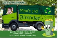 CU860 - Garbage Bin Truck Boys Birthday Invitation