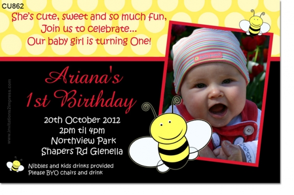 CU862 - Bumblebee Birthday Invitation