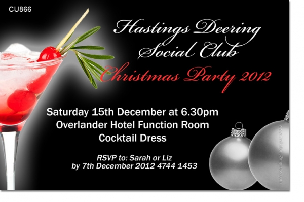 Cu866 Company Cocktail Christmas Party Invitation
