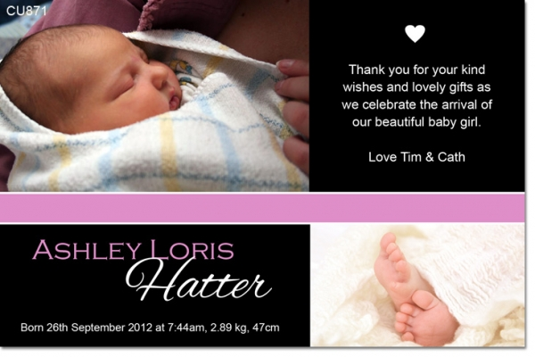 CU871 - Baby Girl Announcement Photo Card