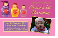 CU873 - Babushka Doll Birthday Invitation