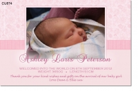 CU874 - Baby Girl Announcement Photo Card