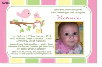 CU885 - Little Bird Christening Invitation