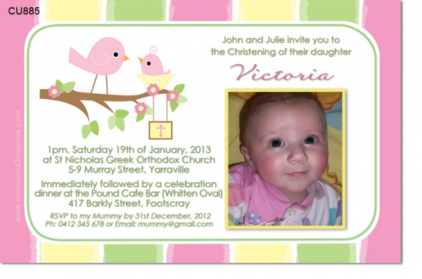 Cu885 little bird christening invitation girls christening cu885 little bird christening invitation stopboris Choice Image