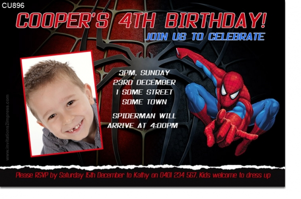 Boys Themed Birthday Invitations Birthday Party Invitations - Spiderman birthday invitation maker free
