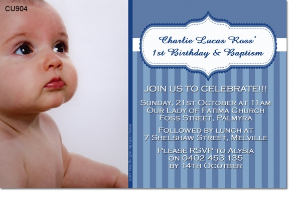 Boys Christening Baptismal Photo Invitations And Thank You Cards