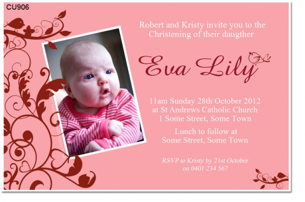 Cu906 Little Bird Birthday And Christening Invitation