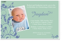 Cu907 Little Bird Boys Birthday And Christening Invitation Baby