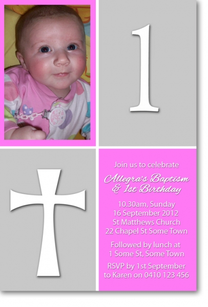 CU Pink And Grey Birthday And Christening Invitation Girls - Birthday invitation and christening