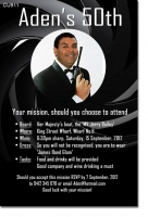 CU911 - James Bond Themed Birthday Invitation