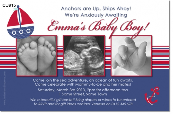 CU915 - Sailboat themed Baby Shower invitation