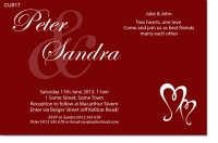 CU917 - Red and White Wedding Invitation