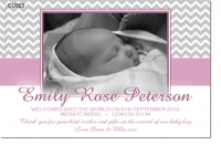 CU923 - Pink Chevron Baby Girl Announcement