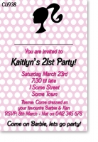 CU938 - Barbie Invitation No Photo