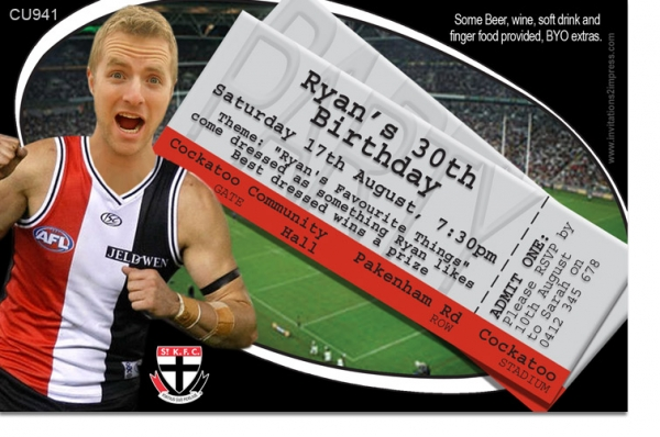 CU941 - St Kilda Foodball Club Birthday Invitation