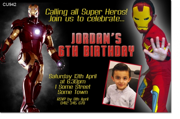 Cu942 iron man birthday invitation boys themed birthday cu942 iron man birthday invitation filmwisefo