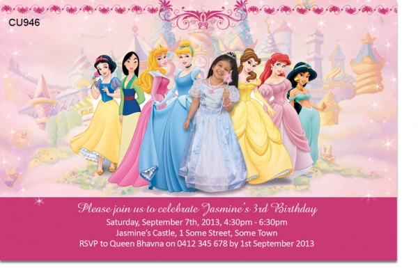 Cu946 princess birthday invitation girls themed birthday cu946 princess birthday invitation filmwisefo