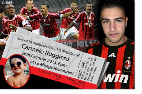 CU955 - AC Milan Birthday Invitation