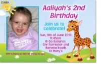 CU959 - Cute Giraffe Birthday Invitation