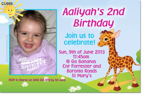 cu959 cute giraffe birthday invitation girls birthday