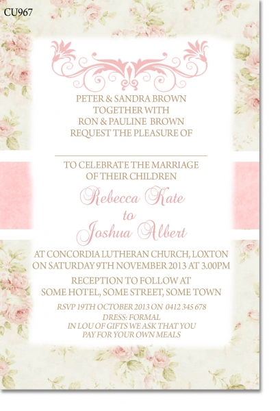 CU967 - Shabby Chic Wedding Invitation