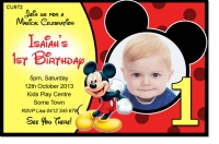 CU972 - Mickey Mouse Birthday Invite - Boys Themed Birthday Invitations - Birthday Party ...
