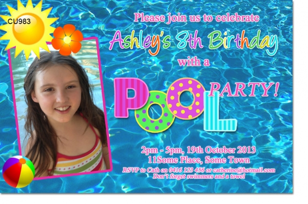 cu983 girls pool party invitation girls themed birthday